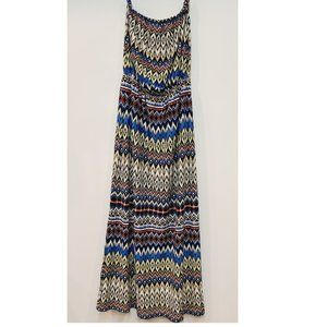 Manhattan Blues Long Tribal Strapless Maxi Dress